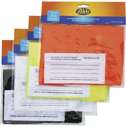Flagga orange flour 22x22cm för flaggboj, nätvakare 2-pack